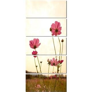 Designart 'Blooming Cosmos Flower Field' Modern Floral Glossy Metal Wall Art