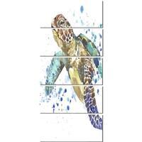 Designart 'Blue Sea Turtle Illustration' Animal Glossy Metal Wall Art