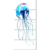 Designart 'Large Light Blue Jellyfish' Animal Glossy Metal Wall Art