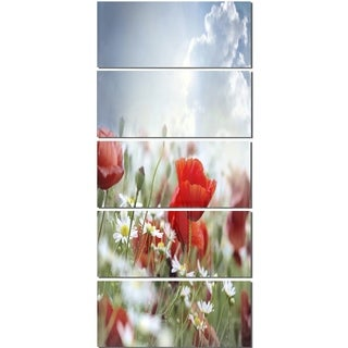 Designart 'Red Poppies on Cloudy Background' Modern Floral Glossy Metal Wall Art