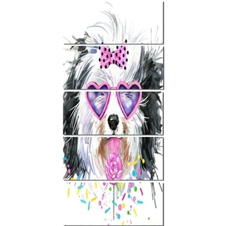 Designart 'Lovely Dog with Pink Heart Glasses' Contemporary Animal Glossy Metal Wall Art