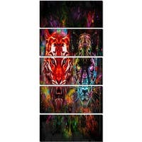 Designart 'Tiger and Panther with Splashes' Animal Glossy Metal Wall Art