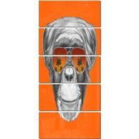 Designart 'Monkey with Mirror Sunglasses' Large Animal Metal Wall Art