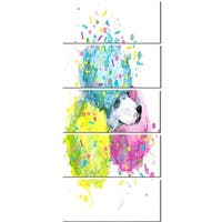 Designart 'Cute White Dog with Color Spheres' Contemporary Animal Glossy Metal Wall Art