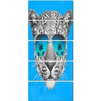 Designart 'Leopard with Mirror Sunglasses' Large Animal Metal Wall Art