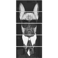 Designart 'French Bulldog Fashion Portrait' Large Animal Metal Wall Art
