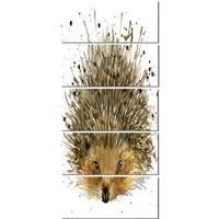 Designart 'Hedgehog Illustration Watercolor' Contemporary Animal Glossy Metal Wall Art