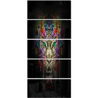Designart 'Fierce Tiger Head on Black' Animal Glossy Metal Wall Art