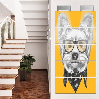 Designart 'Funny Terrier Dog with Glasses' Large Animal Metal Wall Art