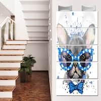 Designart 'Cute French Bulldog with Glasses' Animal Glossy Metal Wall Art