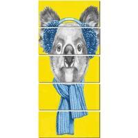 Designart 'Koala with Scarf and Earmuffs' Modern Animal Glossy Metal Wall Art