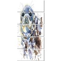 Designart 'Blue Marine Seal Watercolor' Contemporary Animal Glossy Metal Wall Art