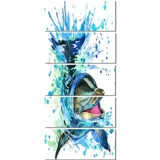 Designart 'Large Blue Dolphin Watercolor' Contemporary Animal Glossy Metal Wall Art