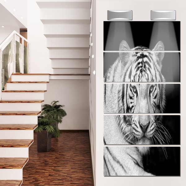 Designart 'Staring Bengal White Tiger' Contemporary Animal Glossy Metal Wall Art