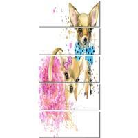 Designart 'Bridge and Groom Dog Illustration' Animal Glossy Metal Wall Art