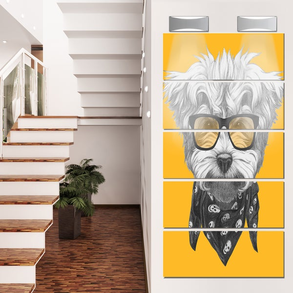 Designart \'Maltese Poodle with Sunglasses\' Modern Animal Glossy ...