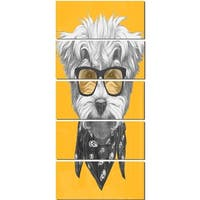 Designart 'Maltese Poodle with Sunglasses' Modern Animal Glossy Metal Wall Art