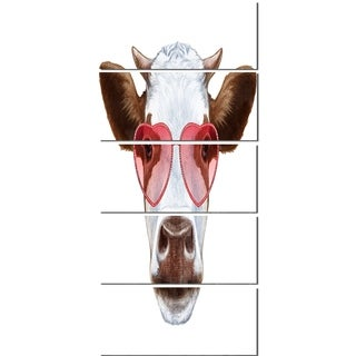 Designart 'Cow with Red Heart Glasses' Modern Animal Glossy Metal Wall Art