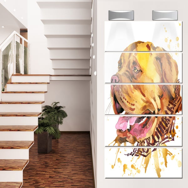 Designart 'Aggressive Brown Dog Watercolor' Animal Glossy Metal Wall Art