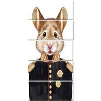 Designart 'Mouse in Military Uniform' Modern Animal Glossy Metal Wall Art