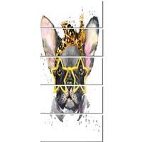 Designart 'French Bulldog with Star Glasses' Animal Glossy Metal Wall Art
