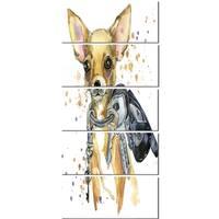 Designart 'Brown Toy Terrier Dog Watercolor' Animal Metal Wall Art
