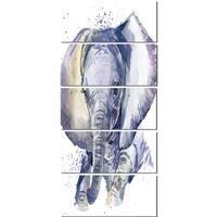Designart 'Baby Elephant Blue Watercolor' Animal Metal Wall Art