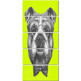 Designart 'English Bulldog with Bow Tie' Contemporary Animal Glossy Metal Wall Art