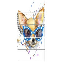 Designart 'Cute Puppy with Blue Glasses' Animal Glossy Metal Wall Art