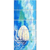 Designart 'Large Jellyfish Watercolor' Animal Metal Wall Art