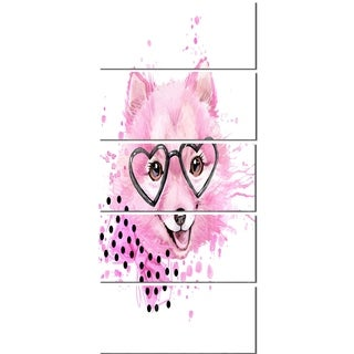 Designart 'Pink Dog with Heart Glasses' Contemporary Animal Glossy Metal Wall Art