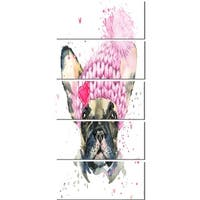 Designart 'French Bulldog with Pink Hat' Contemporary Animal Glossy Metal Wall Art