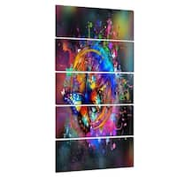 Designart 'Butterfly over Abstract Background' Abstract Glossy Metal Wall Art