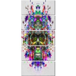 Designart 'Skull with Glasses and Paint Splashes' Abstract Glossy Metal Wall Art