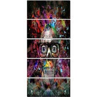 Designart 'Colorful Human Skull with Glasses' Abstract Glossy Metal Wall Art