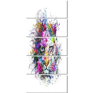 Designart 'Tiger Face in Colorful Splashes' Abstract Glossy Metal Wall Art