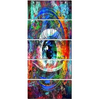 Designart 'Magic Eye over Abstract Design' Large Abstract Glossy Metal Wall Art