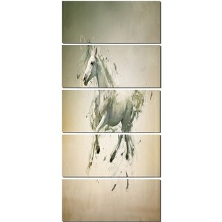Designart 'White Horse in Motion on Brown' Large Animal Glossy Metal Wall Art