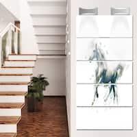 Designart 'White Horse in Motion on White' Large Animal Glossy Metal Wall Art