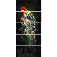 Designart 'Fantasy Parrot on Branch' Large Animal Glossy Metal Wall Art