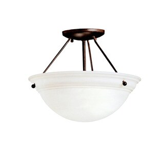 Kichler Lighting Cove Molding Top Glass Collection 2-light Tannery Bronze Semi Flush Mount