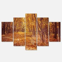 Designart 'Yellow Forest and Fallen Leaves' Modern Forest Glossy Metal Wall Art