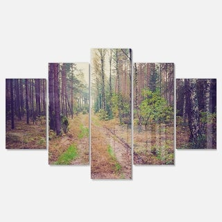 Designart 'Straight Pathway in Thick Forest' Modern Forest Glossy Metal Wall Art