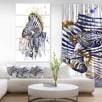 Designart 'Zebra Watercolor Rightwards' Large Animal Glossy Metal Wall Art