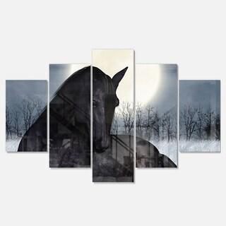 Designart 'Black Horse in Moonlight' Extra Large Animal Metal Wall Art