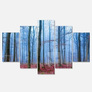 Designart 'Foggy Forest in Blue and Pink Photo' Modern Forest Glossy Metal Wall Art