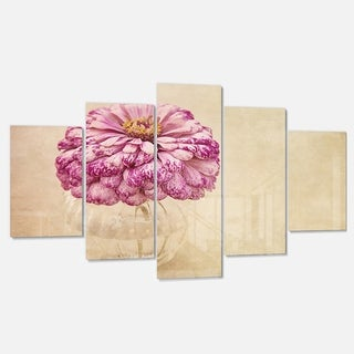 Designart 'Pink Flower in Vase Watercolor' Floral Glossy Metal Wall Art