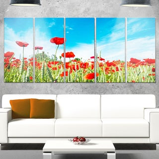 Designart 'Red Poppy Garden under Clear Sky' Flower Glossy Metal Wall Art Artwork