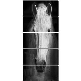 Designart 'White Horse Black and White' Extra Large Animal Metal Wall Art