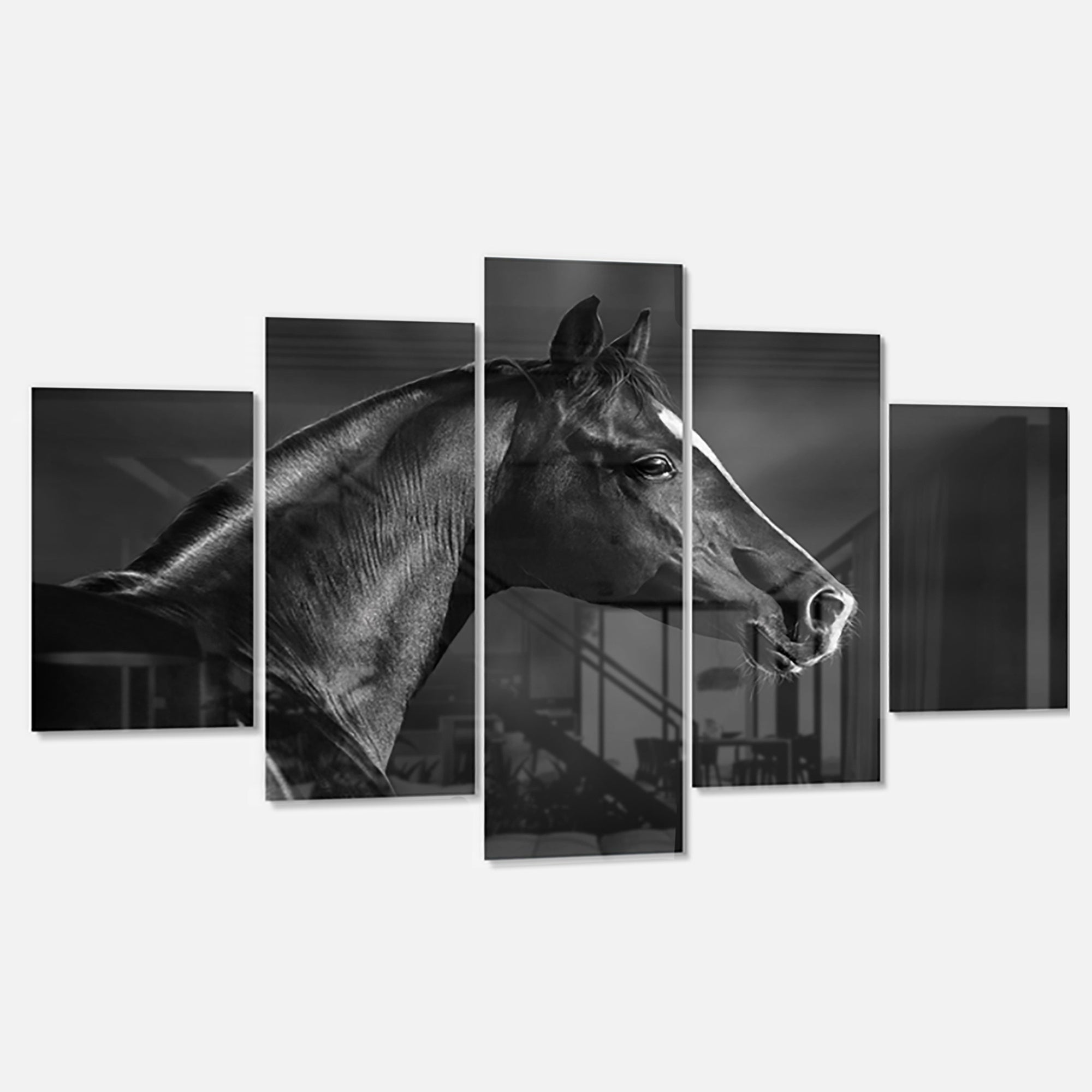 Designart Black Arabian Horse Portrait Extra Large Animal Metal Wall Art Overstock 13965808